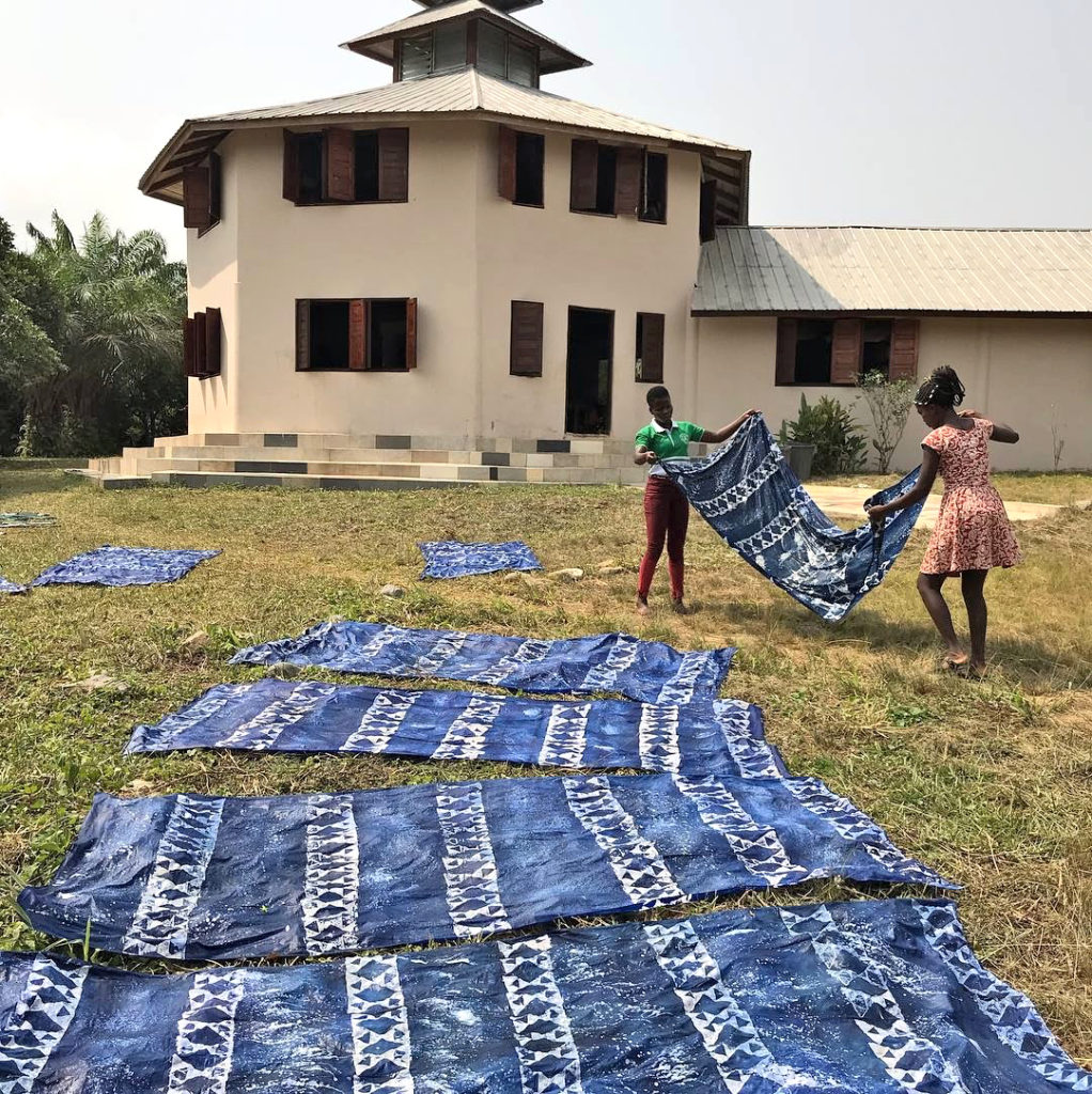 Trinity Yard Students Drying their Batik Cloth
